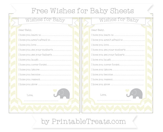 Free Beige Herringbone Pattern Baby Elephant Wishes for Baby Sheets