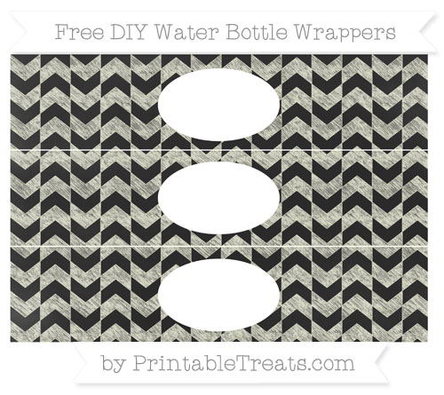 Free Beige Herringbone Pattern Chalk Style DIY Water Bottle Wrappers