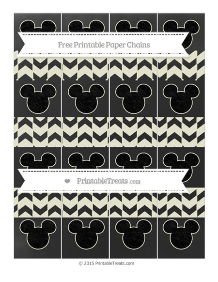 Free Beige Herringbone Pattern Chalk Style Mickey Mouse Paper Chains