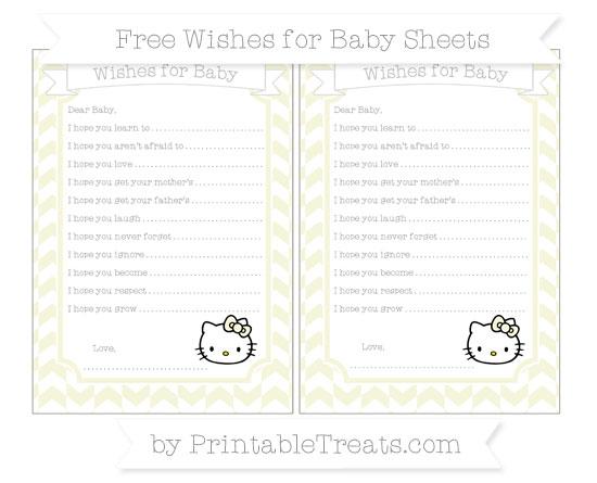 Free Beige Herringbone Pattern Hello Kitty Wishes for Baby Sheets