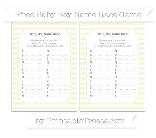 Free Beige Horizontal Striped Baby Boy Name Race Game
