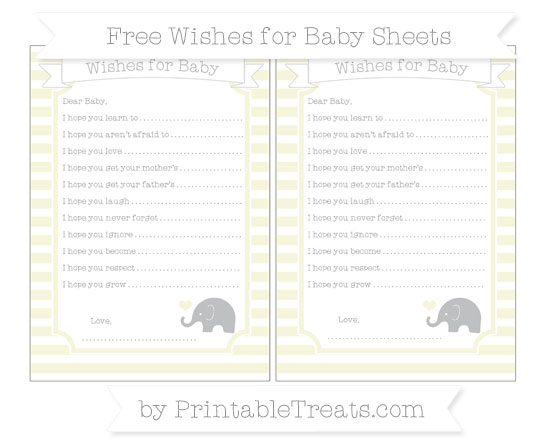 Free Beige Horizontal Striped Baby Elephant Wishes for Baby Sheets
