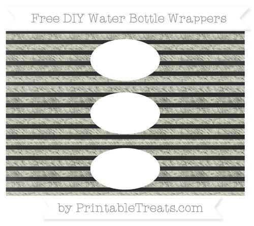 Free Beige Horizontal Striped Chalk Style DIY Water Bottle Wrappers