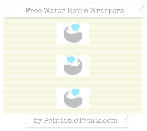 Free Beige Horizontal Striped Whale Water Bottle Wrappers
