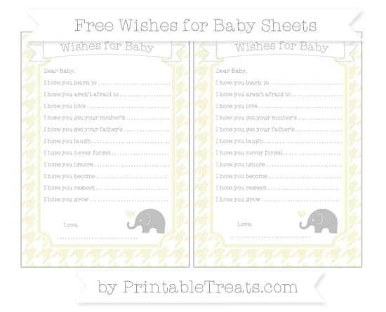 Free Beige Houndstooth Pattern Baby Elephant Wishes for Baby Sheets