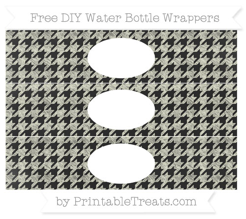 Free Beige Houndstooth Pattern Chalk Style DIY Water Bottle Wrappers