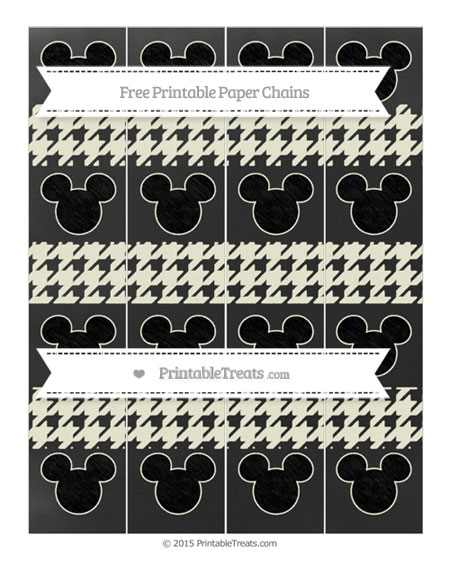 Free Beige Houndstooth Pattern Chalk Style Mickey Mouse Paper Chains
