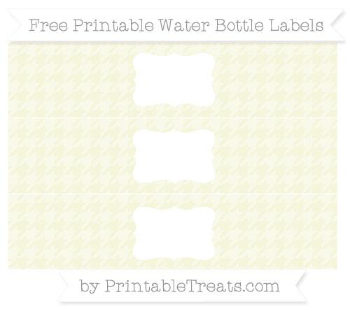 Free Beige Houndstooth Pattern Water Bottle Labels