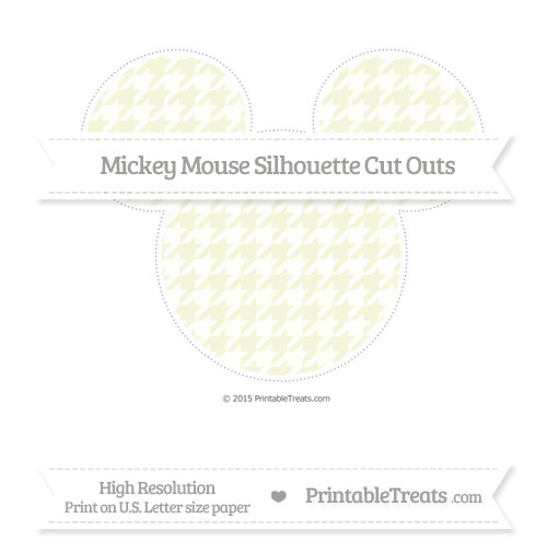 Free Beige Houndstooth Pattern Extra Large Mickey Mouse Silhouette Cut Outs