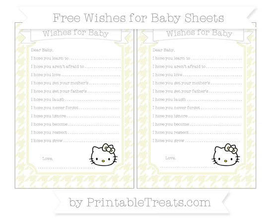 Free Beige Houndstooth Pattern Hello Kitty Wishes for Baby Sheets