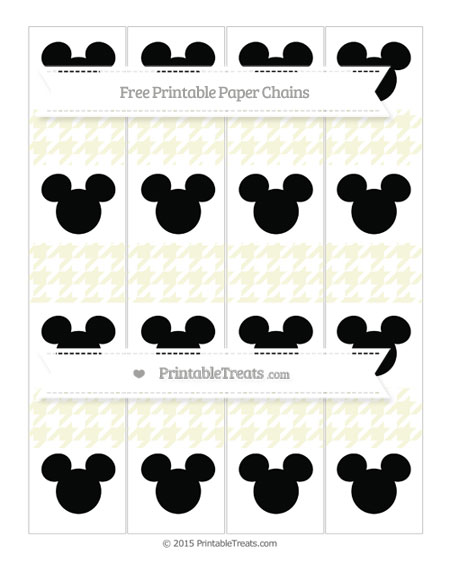 Free Beige Houndstooth Pattern Mickey Mouse Paper Chains