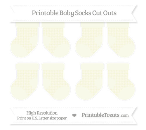 Free Beige Houndstooth Pattern Small Baby Socks Cut Outs