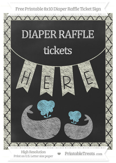 Free Beige Moroccan Tile Chalk Style Baby Whale 8x10 Diaper Raffle Ticket Sign