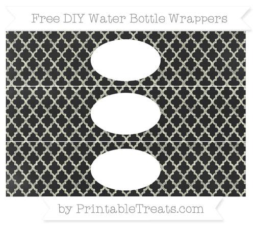 Free Beige Moroccan Tile Chalk Style DIY Water Bottle Wrappers