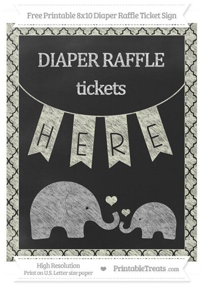 Free Beige Moroccan Tile Chalk Style Elephant 8x10 Diaper Raffle Ticket Sign