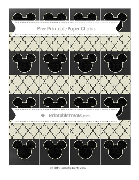 Free Beige Moroccan Tile Chalk Style Mickey Mouse Paper Chains