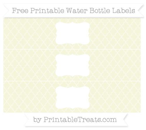 Free Beige Moroccan Tile Water Bottle Labels
