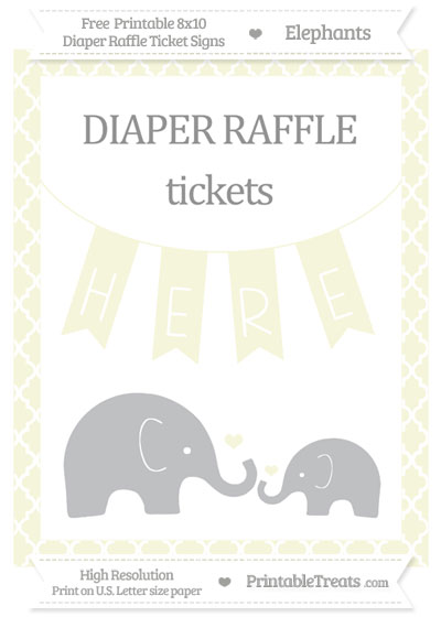Free Beige Moroccan Tile Elephant 8x10 Diaper Raffle Ticket Sign