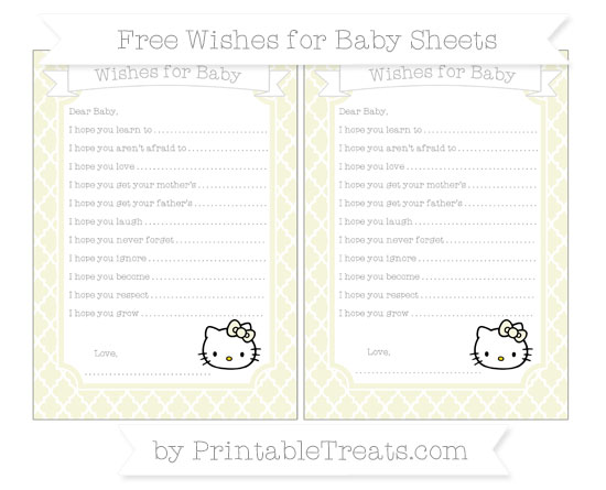 Free Beige Moroccan Tile Hello Kitty Wishes for Baby Sheets