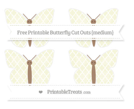 Free Beige Moroccan Tile Medium Butterfly Cut Outs