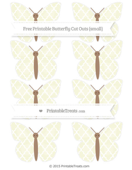 Free Beige Moroccan Tile Small Butterfly Cut Outs