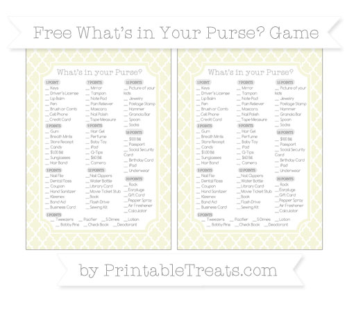 Free Beige Moroccan Tile What's in Your Purse Baby Shower Game