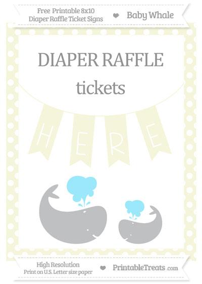 Free Beige Polka Dot Baby Whale 8x10 Diaper Raffle Ticket Sign