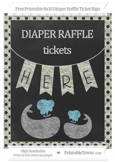 Free Beige Polka Dot Chalk Style Baby Whale 8x10 Diaper Raffle Ticket Sign