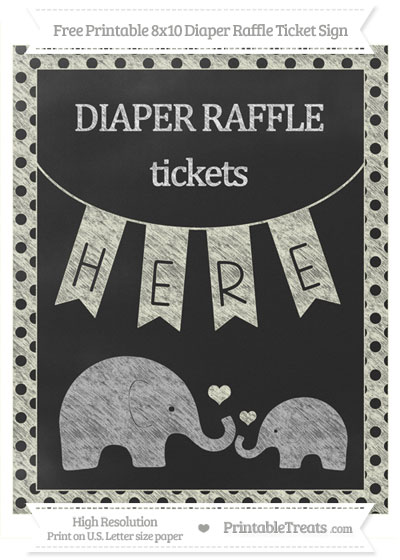 Free Beige Polka Dot Chalk Style Elephant 8x10 Diaper Raffle Ticket Sign