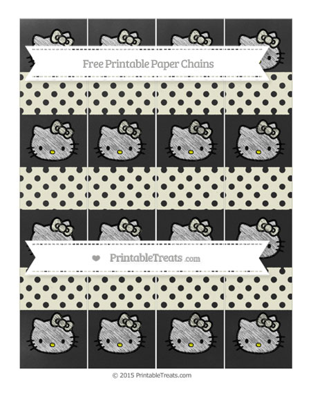 Free Beige Polka Dot Chalk Style Hello Kitty Paper Chains