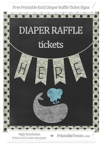 Free Beige Polka Dot Chalk Style Whale 8x10 Diaper Raffle Ticket Sign