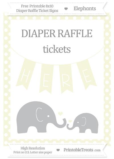 Free Beige Polka Dot Elephant 8x10 Diaper Raffle Ticket Sign