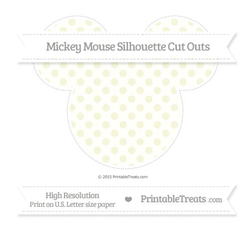 Free Beige Polka Dot Extra Large Mickey Mouse Silhouette Cut Outs