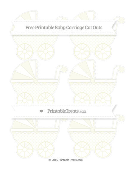 Free Beige Polka Dot Small Baby Carriage Cut Outs