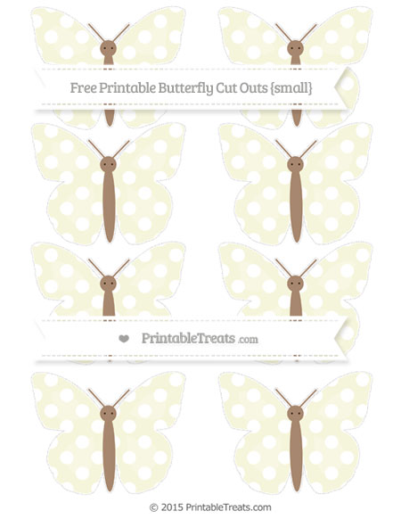Free Beige Polka Dot Small Butterfly Cut Outs