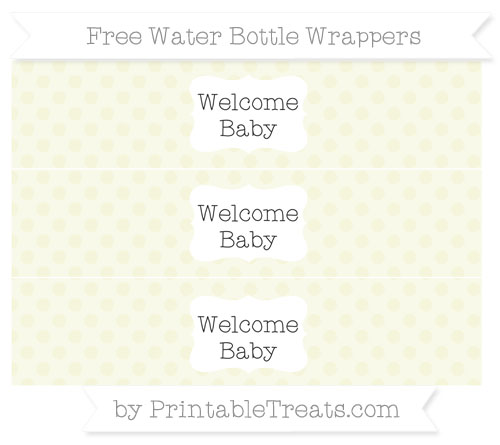 Free Beige Polka Dot Welcome Baby Water Bottle Wrappers