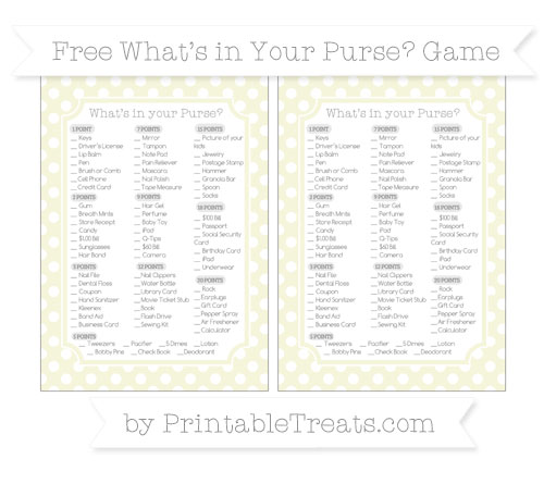 Free Beige Polka Dot What's in Your Purse Baby Shower Game