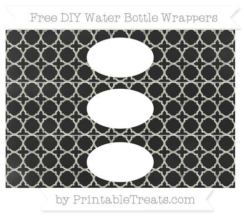 Free Beige Quatrefoil Pattern Chalk Style DIY Water Bottle Wrappers