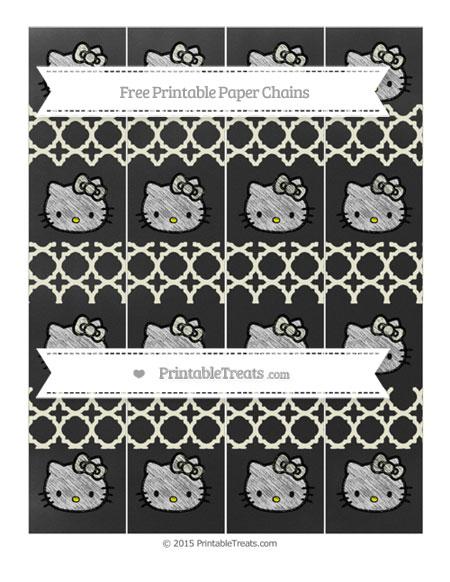 Free Beige Quatrefoil Pattern Chalk Style Hello Kitty Paper Chains