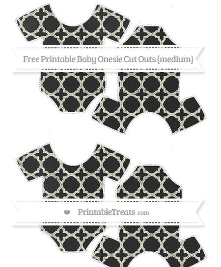 Free Beige Quatrefoil Pattern Chalk Style Medium Baby Onesie Cut Outs