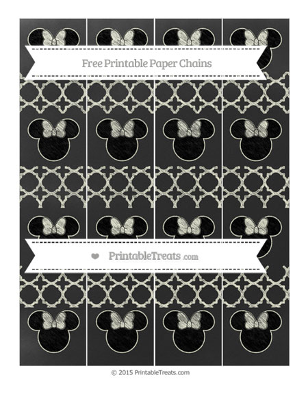 Free Beige Quatrefoil Pattern Chalk Style Minnie Mouse Paper Chains