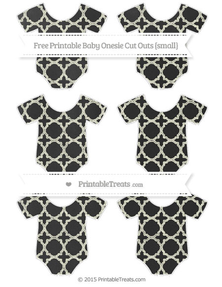 Free Beige Quatrefoil Pattern Chalk Style Small Baby Onesie Cut Outs