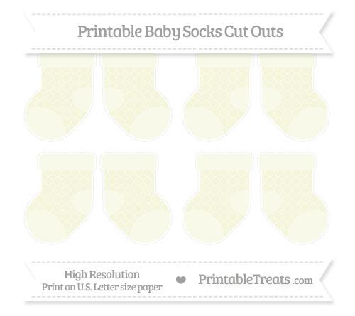 Free Beige Quatrefoil Pattern Small Baby Socks Cut Outs