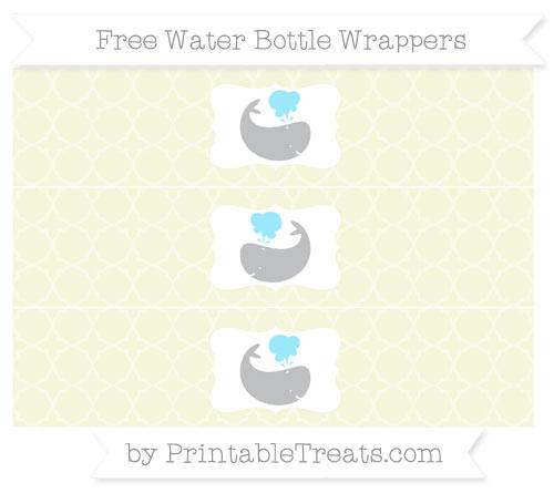 Free Beige Quatrefoil Pattern Whale Water Bottle Wrappers