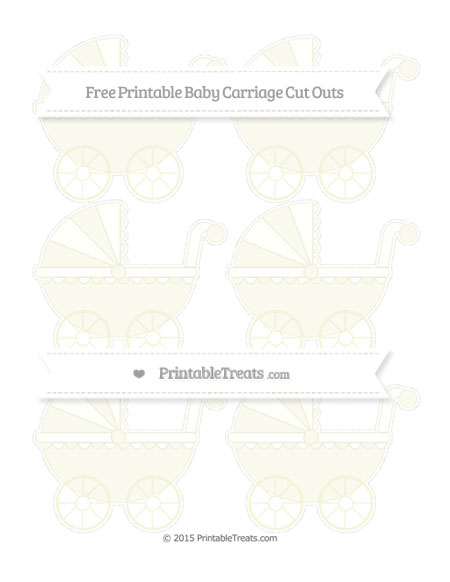 Free Beige Small Baby Carriage Cut Outs