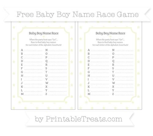Free Beige Star Pattern Baby Boy Name Race Game