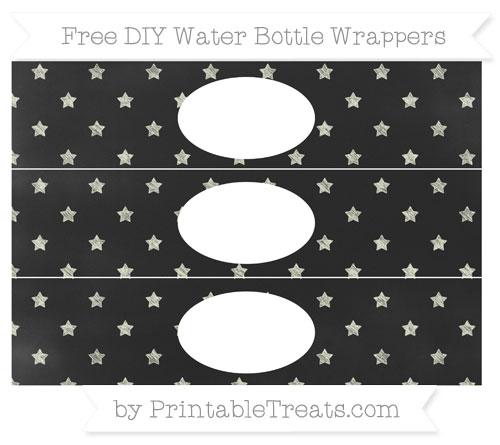 Free Beige Star Pattern Chalk Style DIY Water Bottle Wrappers