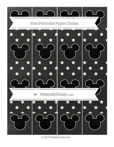Free Beige Star Pattern Chalk Style Mickey Mouse Paper Chains