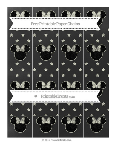 Free Beige Star Pattern Chalk Style Minnie Mouse Paper Chains