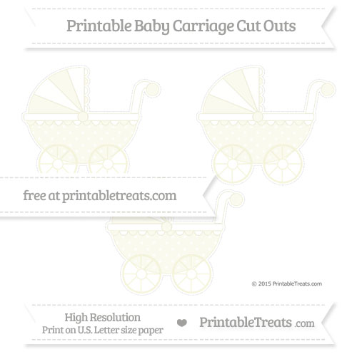 Free Beige Star Pattern Medium Baby Carriage Cut Outs
